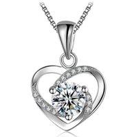 ingrosso porcellana di zircone-Collana di gioielli in argento sterling 925 di design collana di zirconi cuore amore per le donne nozze gioielli all'ingrosso Cina