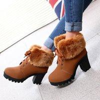 botas altas de tacón alto al por mayor-2019 nuevo de la manera talón grueso botas de Martin del estilo de Hip las botas del tobillo británica invierno de tacón alto