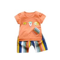ingrosso camicie per cani-CHAMSGEND Estate 2PC Toddler Bambini Baby Boy Cartoon Dog T-shirt stampata Tops + Shorts Abiti completi Set FEB4 P30