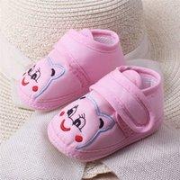 печать на ткани мальчика оптовых-Baby Girl Boy Soft Sole Cartoon Anti-slip Shoes Toddler Shoes Animal Prints Cotton Fabric Unisex
