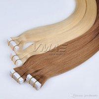 atkı insan saçı paketi toptan satış-Brezilyalı Düz Bant Saç Uzatma Çift Çizilmiş 2.5 g / adet 40 Adet / paket Cilt Atkı Saç Uzatma VMAE Virgin İnsan Saç