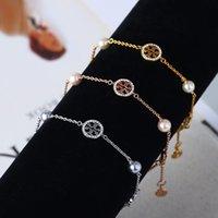 concha de la suerte al por mayor-Nueva marca T Diseñador de la marca Marca de la mujer Esmalte perla Diamante de lujo Lucky T Hollow Carta pulsera Shell Carta brazalete de regalo