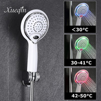 Wholesale round led shower for sale - Group buy Xueqin Colors Change LED Temperature Digital Display Handheld Bathroom Shower Head Water Temperature Led Shower Head Y200109