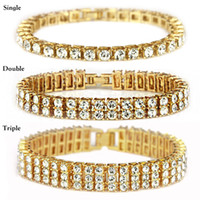 pulseiras de tenis femininas venda por atacado-Bling congelado correntes pulseira para homens e mulheres diamante pulseira de tênis congelado cubana elo da cadeia hip hop bling correntes jóias homens