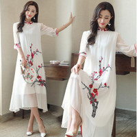 ingrosso fiore di prugna cinese-Abito tradizionale cinese Prugna fiore modello abito lungo qipao cinese cheongsam abito abito moderno cheongsam
