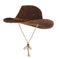 Wholesale beach cowboy straw hats men for sale - Group buy SAGACE Parent child western cowboy style straw hat winter autumn beach sunshade windproof straw Cover Mesh Breathable
