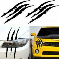 etiquetas reflexivas engraçadas venda por atacado-Funny Car Etiqueta reflexiva monstro zero Stripe Marcas da garra de viaturas Auto Farol decoração decalque