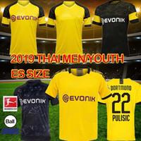 jersey de futbol de calidad tailandia xxl al por mayor-Tailandia BVB Borussia Dortmund camiseta de fútbol 19 20 GOTZE REUS PULISIC Witsel Jersey Paco Alcácer camisetas de fútbol de alta calidad hombres de la camisa niños