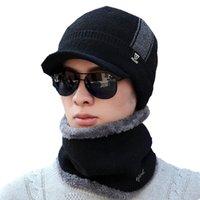 ingrosso sciarpa invernale adulta-inverno più cashmere ispessimento caldo cappello da uomo in lana lavorato a maglia sciarpa + berretto da uomo set due pezzi semplici berretti da collo per adulti in tinta unita