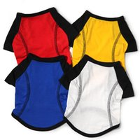 Wholesale dogs sports clothes resale online - T Shirt Pet Dog Clothes Four Solid Colors Stay Wire Breathful Spring And Summer Sports Wear Dog Apparel lyE1