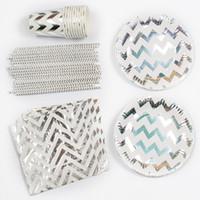 tek kullanımlık bardak toptan satış-85 adet Gümüş Folyo Dalga Tek Kullanımlık Sofra Setleri Kağıt Tabaklar Bardaklar Peçeteler Bebek Duş Iyilik Payet İçme Düğün dekor