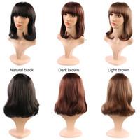 longo luz marrom perucas venda por atacado-2019 moda castanho escuro luz marrom natural preto cor média longa Rinka Haircut perucas para mulheres uso diário