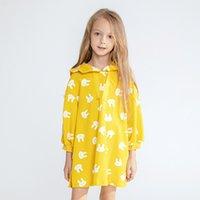 sarı elbise karikatür toptan satış-Sarı karikatür kapüşonlu baskı çocuk uzun elbise 2019 sonbahar ve kış yeni patlama modelleri kız