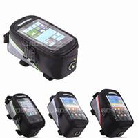 schwarze röhre mobil großhandel-Fahrradtasche Touchable Handy Schlauchpaket Mountainbike Vordertaschen Fahrradzubehör Schwarz Gelb Canvas 18 5jg C1