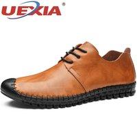 zapatos casuales de hombres de piel de vaca mocasín al por mayor-UEXIA hecha a mano de cuero de vaca al aire libre de los hombres zapatos de varón ocasional de moda de los holgazanes de conducción suave de los zapatos mocasines Pisos Resbalón de la talla de calzado 48