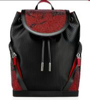 ingrosso annata regalo rosso scuola-Zaino Donne Uomini Vera Pelle Vintage sacchetto di scuola per adolescenti punk della donna borse da viaggio inferiore rossa
