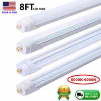 Wholesale t8 led ft tubes resale online - 8 ft LED Tubes Single Pin FA8 LED Bulb feet ft LED Tube Lamp Replace Fluorescent Tube Light V Shaped Tube K K