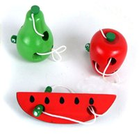 Wholesale educational apple for sale - Group buy Montessori Educational Toys Fun Wooden toy Worm Eat Fruit Apple pear Early Learning Teaching Aid Baby Toy Gift For Kids