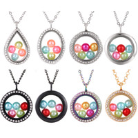 Wholesale More Style mm Pearl Beads Cage Colored Geometry Magnetic Glass Floating Locket Pendants Women Charms quot Necklace