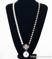 uzun altın topu kolye kolye toptan satış-Uzun Kolye Inci Gül Altın Yonca Kolye hiçbir çelik top kolye kolye lady gelin aksesuarları c1812-22