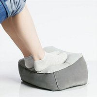 Wholesale foot bedding resale online - 2019 Hot Useful Inflatable Portable Travel Footrest Pillow Plane Train Kids Bed Foot Rest Pad PVC For Travel Massage CY