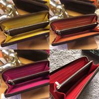 fermuar para çantaları toptan satış-2019 En kaliteli orijinal deri klasik tasarımcı cüzdan moda deri uzun çanta para çanta fermuar kese para cebi not tasarımcı debriyaj
