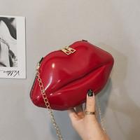 Wholesale lip shape clutch bag online - designer crossbody bag Women Patent Leather Red Lips Clutch Bag Evening Bag Lips Shape Purse