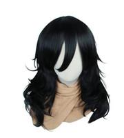 свободные волосы парики оптовых-Wig Cosplay Wig My Hero Academia Shota Aizawa Black Curly Unisex Anime Hair Wigs Free Shipping