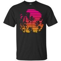 neue wellen t-shirts großhandel-Schwarzes, dunkelblaues T-Shirt - Sunset Palm Tree - Outrun Synthwave Neues Retro Wave Cartoon T-Shirt Herren Unisex New Fashion T-Shirt