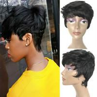 ingrosso parrucche dei capelli dei ragazzi-Short Pixie Human Hair Wigs Side Bangs Parrucca corta per le donne, Short Pixie Wigs per le donne Boy Cut Wigs 1b # Colore, Fashion Short Cut Pixie Hair