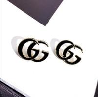 satılık toptan satış-Moda Tasarımcısı Saplama Küpe Siyah Beyaz G Mektup Güzellik Küpe Kadınlar Takı Hediye için Sıcak Satış Toptan