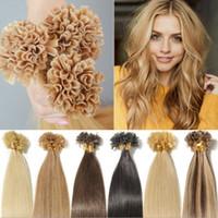 couleur de cheveux blonde achat en gros de-U TIP Remy extensions de cheveux humains 100 brins par série Bâton européen Kératine Cheveux raides 16