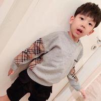 sweat à capuche pour enfant achat en gros de-Deux couleurs Toddler Boy Vêtements Bébé Fille 100% Coton Sweat Enfants 2019 Nouvel Automne Printemps À Capuche Hauts