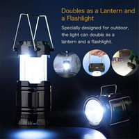 New Solar Powered Rechargeable LED Camping Lantern Portable folding Lantern light Collapsible Tent light Household Flame Lamp Flashlight