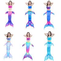 trajes de sereia venda por atacado-3 Pcs Meninas Swimsuit Sereia Caudas para Natação Princesa Biquíni Maiô Maiôs Maiensuit para 3-12Y