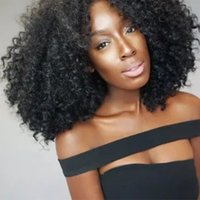 Wholesale braids wig queen resale online - Queen Braid Afro Synthetic Loose Curly Wig For Black Women Heat Resistant Fluffy Hair Short Natural Full Wigs