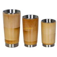copo de água de bambu venda por atacado-Frete grátis Criativo 304 Copo De Água De Aço Inoxidável Natural Original de Bambu Japonês Óculos Abertos sem Tampa