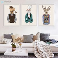 zebra wandmalereien großhandel-Vintage Mode Hipster Wilde Tiere Giraffe Hirsch Zebra Pferd Poster Drucke Wandkunst Bilder Retro Wohnkultur Leinwand Gemälde
