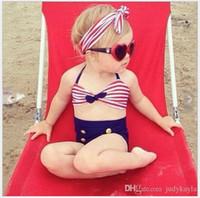 drei kinder mädchen bikinis großhandel-Mode 2017 Neue Baby Mädchen Bikini Badeanzug Nettes Mädchen Drei Stücke Bademode Kinder Gestreifte Knöpfe Badeanzug 4 sätze / los