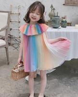 vestido de menina cor quente venda por atacado-Hot 2019 Summer Girl Dress Crianças New Iridescent cor Soft Princess Dresses Baby Girls vestido de praia