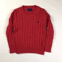 qualität kinder kleidung großhandel-Neue Marke Boy Sweater 100% Baumwolle Baby Pullover Kinderkleidung V-Ausschnitt Polo Pullover Hochwertige Kinder Oberbekleidung Mädchen Pullover
