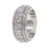 novo anel de prata para meninos venda por atacado-Novo tamanho do anel de hip hop # 7-10 cor Prata acendendo bling EUA homens menino ICED OUT anéis de noivado para homens