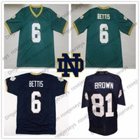 ingrosso pullover bettis-NCAA Notre Dame # 6 Jerome Bettis Green Vintage Jersey 81 Tim Brown ND Blu Navy Bianco Cucita Retro Calcio Uomo Donna Bambino Bambino