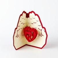 liebe handgefertigt großhandel-Thanksgiving Grußkarte Handmade 3D Red Love Heart Shaped Faltbare Happy Birthday Card Geschenk für Freunde 10cm * 15cm