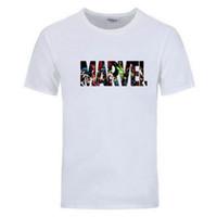 yeni marvel tişörtler toptan satış-EINAUDI 2018 Yeni Moda Marvel Kısa Kollu T-shirt Erkekler Baskı t shirt O-boyun Comic Marvel Gömlek Erkekler Giyim Tee Tops