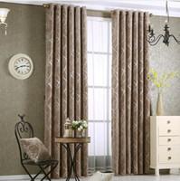 ingrosso finestre viventi-Ciniglia jacquard argento oscurante per camera da letto moderno lusso cieco tessuto tende grigio per finestra del soggiorno formato personalizzato