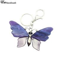 chaîne papillon grande achat en gros de-Nouveau Grand violet Acrylique Papillon Porte-clés Bijoux De Mode porte-clés porte clef portachiavi llaveros mujer sleutelhanger chaveiro