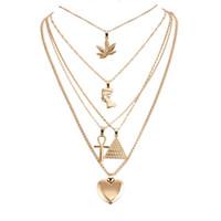 collares de faraón al por mayor-Collar de diseño Collar de Múltiples Capas de Oro Hoja de Arce Faraón Pirámide Corazón Collares Envoltura Collares Colgantes Apilamiento Joyería de las mujeres