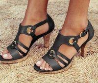 schuhe ferse 43 großhandel-New Weiseluxuxfrauen Beliebte Leder Sandale Klassische Designer High Heels Schuhe Leder Sohle Einkaufs Plain Sandelholz-Größe 35-43