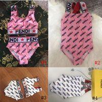 conjunto de maiô bonito venda por atacado-Crianças Designer Swimsuit Um pedaço Swimwear F letras Impresso Two Piece Shorts Set Maiôs Menina Bonito Bikinis SetBeachwear Roupas B73105